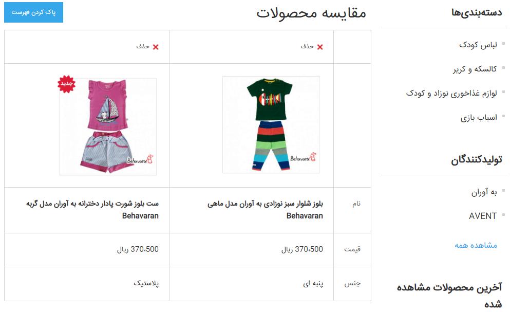 مقایسه کالا در فروشگاه اینترنتی